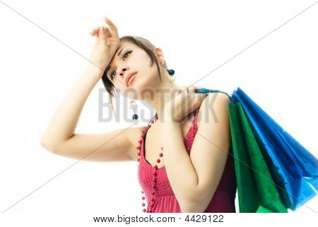 Young Brunette Woman Tired Of Shopping