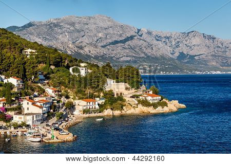 Beautiful Adriatic Beach And Lagoon With Blue Water Near Split, Croatia