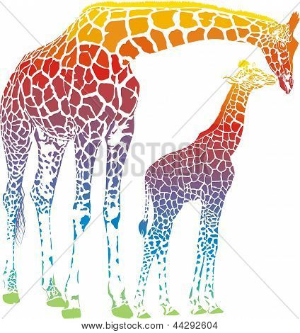 Rainbow giraffe mother with cub