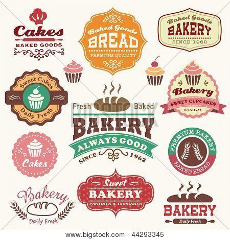 Colección de panadería retro vintage insignia insignias y etiquetas