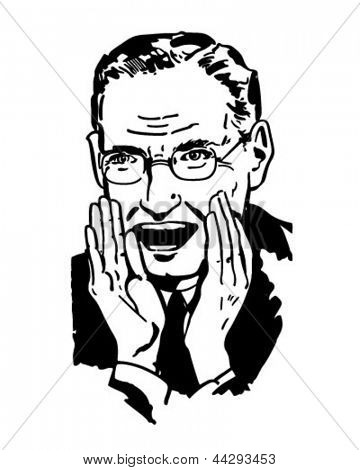 Man Shouting - Retro Clipart Illustration