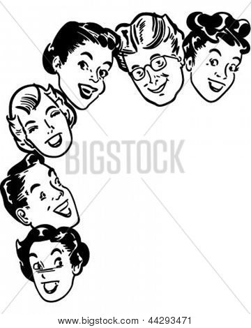 Happy Shoppers - Retro Clipart Illustration