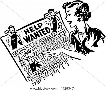 Gal Reading Help Wanted Ads - Retro Clip Art Illustration