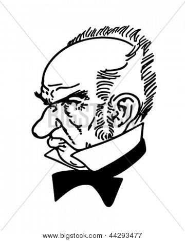 Grumpy Old Man - Retro Clip Art Illustration