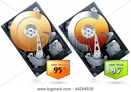 Hard disk drive HDD with price badge realistic detailed vector