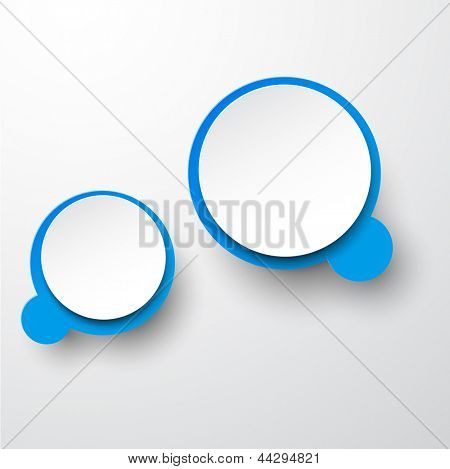Vector abstract illustration of white and blue paper round speech bubbles on grey background. Eps10.