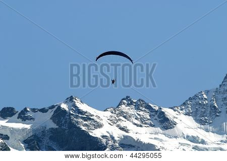 Paragliding On A High Mountain