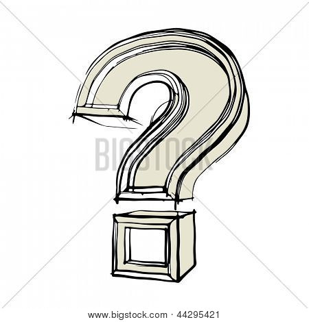 sketchy question mark isolated on white background