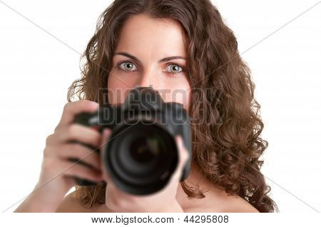 Woman Looking At A Camera