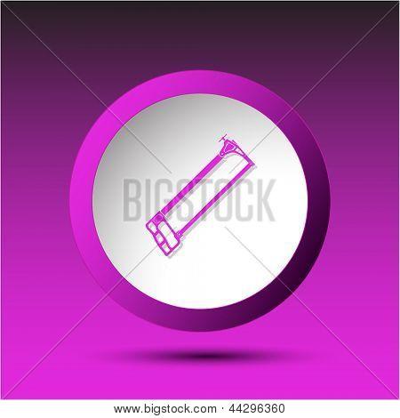 Hacksaw. Plastic button. Raster illustration.