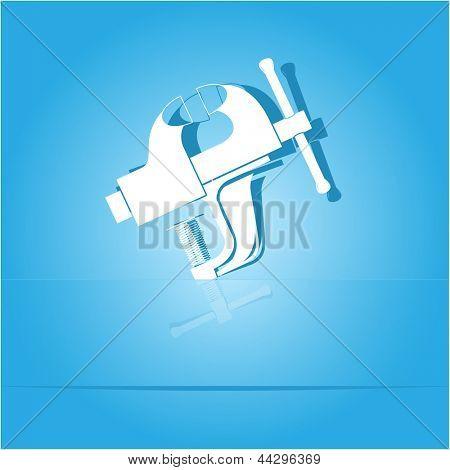 Clamp. Paper sticker as bookmark. Raster illustration.