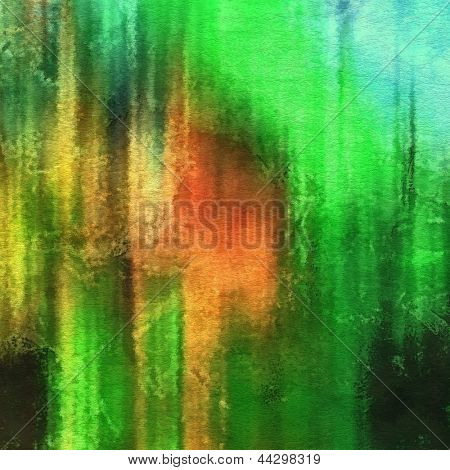 art abstract watercolor background on paper texture in bright green and red colors