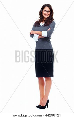 Portrait of happy young business woman isolated on white background