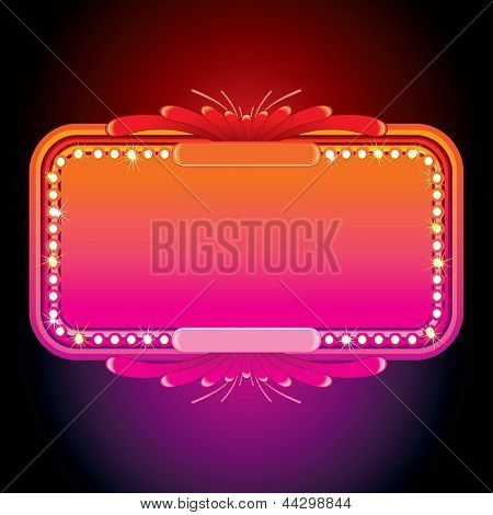 Illustration of Pink Retro Marquee. Illuminated Sign or Billboard.