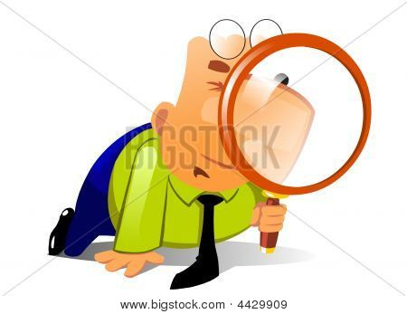 Clerk With Big Magnifying Glass