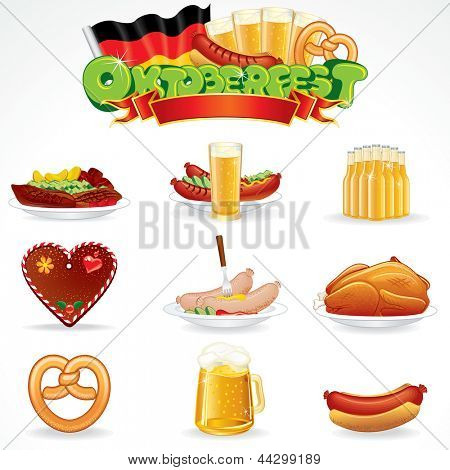 Oktoberfest Food and Drink Icons. Clip Art