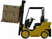 stock photo of fedex  - 3 D Render of an yellow Forklift - JPG
