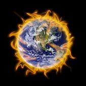 picture of global-warming  - planet earth engulfed in flames is a metaphor for global warming - JPG