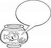 stock photo of fishbowl  - Black and white illustration of a goldfish in a fishbowl with a caption balloon - JPG
