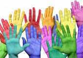 stock photo of waving hands  - many colorful hands waving and symbolicind diversity - JPG