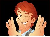 image of eye-wink  - Happy Young Cartoon Male Director Photographer Character Winking Eyes Vector Illustration - JPG