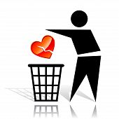 pic of scruple  - Conceptual icon with recycling sign and broken heart - JPG