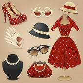 image of dress mannequin  - Lady retro fashion accessories - JPG