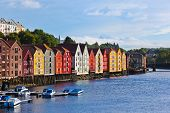 stock photo of fjord  - Cityscape of Trondheim Norway - architecture background