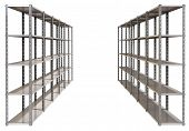 foto of shelving unit  - A regular assembled metal warehouse shelving unit on an isolated background - JPG