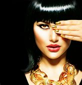 stock photo of arabic woman  - Golden Jewellery - JPG
