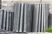 Stack Of Many Concrete Drainage Pipe