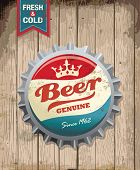 stock photo of cold drink  - illustration of vintage beer bottle cap with wooden background - JPG