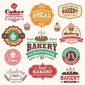 stock photo of cupcakes  - Collection of vintage retro bakery logo badges and labels - JPG