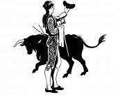 picture of brahma-bull  - Matador With Bull  - JPG
