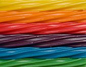 stock photo of licorice  - Candy rainbow made of different licorice flavors - JPG