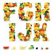 Постер, плакат: Красочные письма от фруктов и ягод Картинки