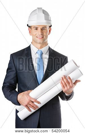 Engineer in headpiece hands blueprints, isolated on white. Concept of successful construction