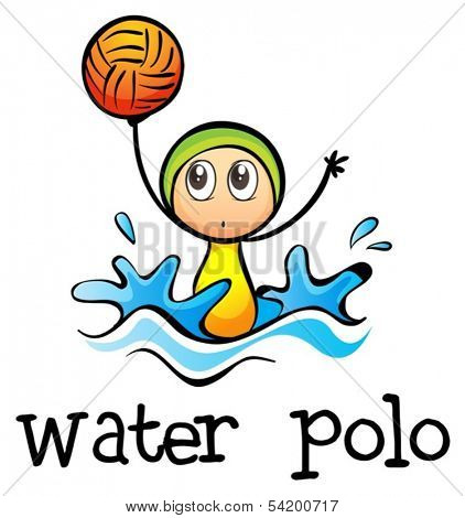 Illustration of a stick man playing water polo on a white background