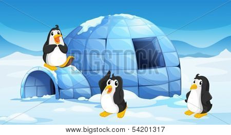 Illustration of the three penguins near an igloo