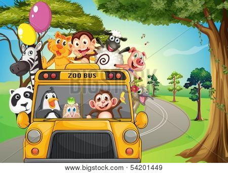 Illustration of a bus full of zoo animals