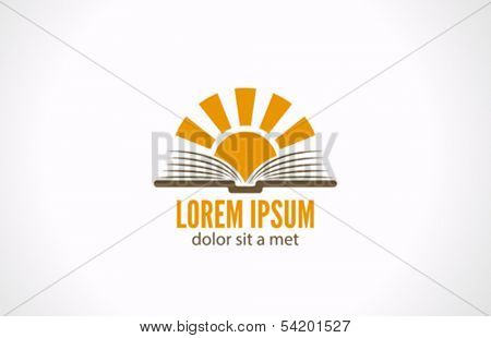 Sun over open book vector logo design template. Education concept. Library. E-book idea. School icon
