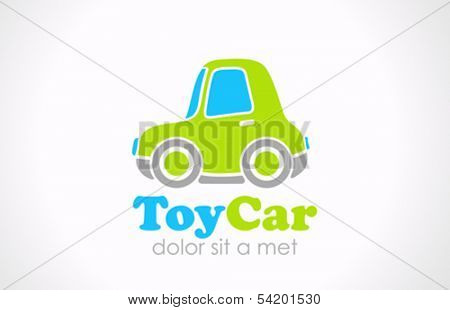 Toy car vector logo design template. Creative small fun micro machine. Mini transport funny icon