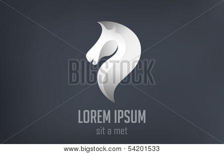 Caballo de plantilla de diseño de logotipo de vector acero silueta abstracta. Símbolo de metal de lujo. Icono elegante