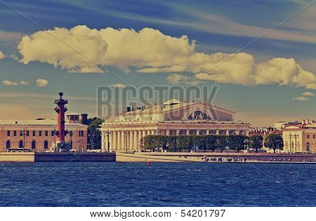 Petersburg. An arrow of Vasilevsky islandwith a retro effect