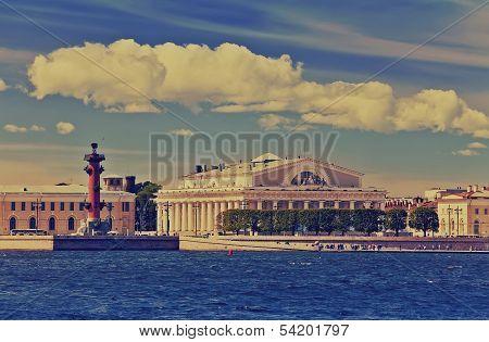 Petersburg. An arrow of Vasilevsky islandwith a retro effect