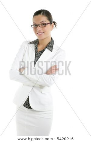 Attractive Businesswoman With White Suit