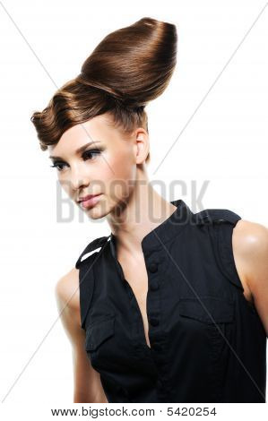 Pretty Woman With Fashion Creative Hairstyle