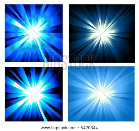 Set Of Ray Lights Explosion With High Contrast Colors