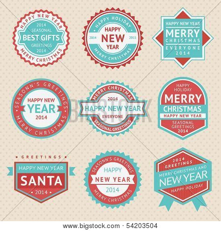 Set stickers and badges for Christmas cards