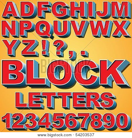 An Alphabet Set of 3D Block Letters and Numbers